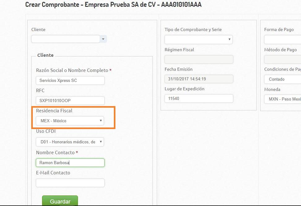 Domicilio Receptor - Creacion Comprobante -Nvo Cliente