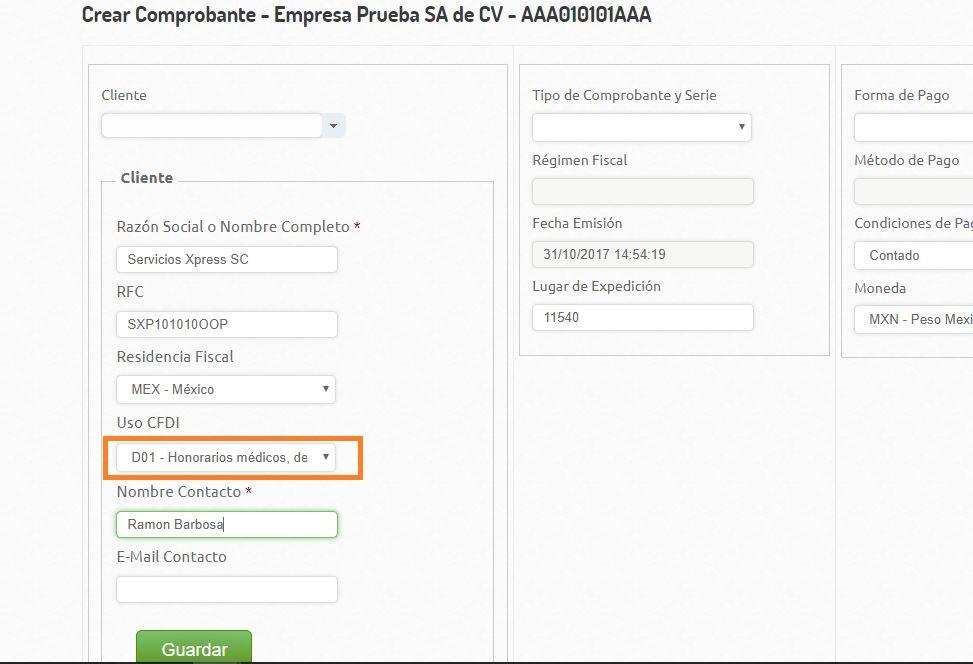 UsoDelCFDI - Creacion Comprobante -Nvo Cliente