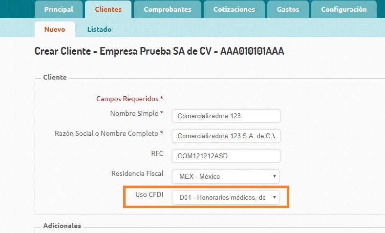 UsoDelCFDI - Edicion Cliente